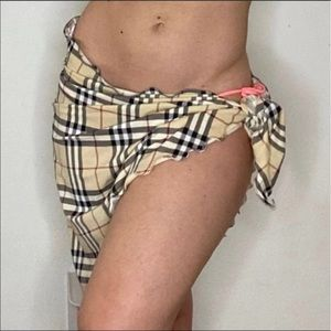 Burberry swimsuit plaid check sarong cover up
